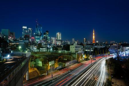 Night shot of cityscape in kyoto, japan. Banco de Imagens