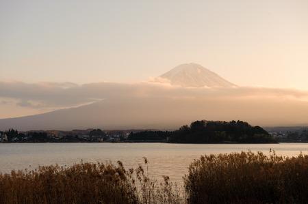 sunsets: Mt.Fuji with beautiful sunsets light.View from kawaguchiko lake.