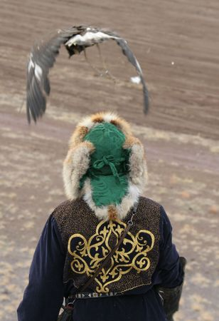 kazakh: The Kazakh man - tradition national ornament in dress.