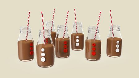 Glass Bottles with a chocolate cocktails and a straws on beige background. 3d rendering Stock Photo