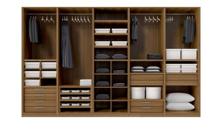 Wood Wardrobe interiors. Furniture for closet room on white background. 3d rendering Stock Photo