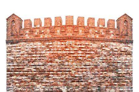Old red brick fortress with battlements on the roof. Visible irregularities and chips on the bricks. 版權商用圖片