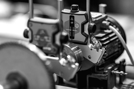 Automated Assembly line of mechanical engineering. Shallow depth of field. The background is blurred. Reklamní fotografie