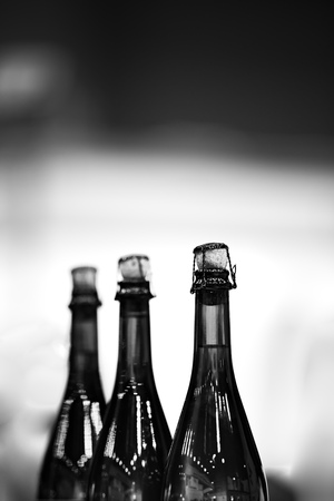 Several glass bottles of champagne with stoppers. Tube holding the wire. The background is blurred. Reklamní fotografie