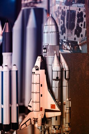 Toy space launch vehicle. You can see the details. The background is blurred. Old-generation missiles.