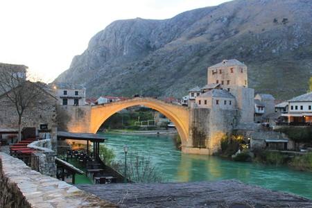 Mostar bridge. The old bridge. Mostar Bosnia Herzegovina. Photo of the old turkish bridge in Mostar. Stock Photo
