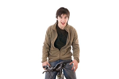 The scared guy on a bicycle on a white background Stock Photo - 2348184