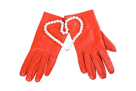 glamur: Red gloves and heart on a white background (isolated) Stock Photo