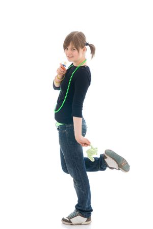 The young amusing girl with a dummy isolated on a white background photo