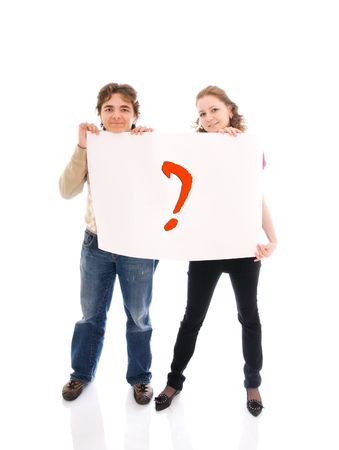The happy couple with a poster isolated on a white background photo