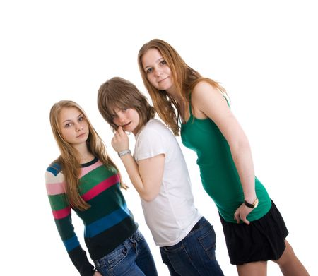 artificial hair: Three attractive girls isolated on a white background Stock Photo