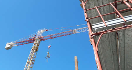 Work in progress on the construction site in summer - business Stock Photo