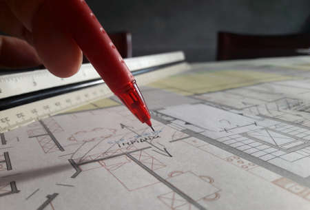 Architect designing freehand in his studio