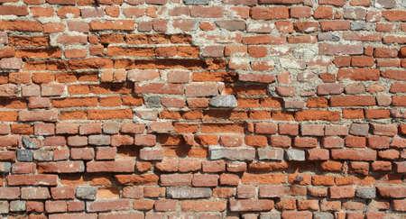 Brick wall, vintage and damaged