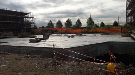 Work in progress on the construction site in the summer to build houses and offices