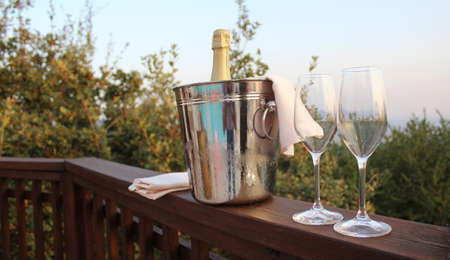 Goblets of sparkling wine for the wedding party Stock Photo