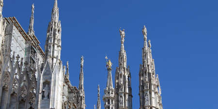 Golden Madonna of Milan Cathedral in autumn