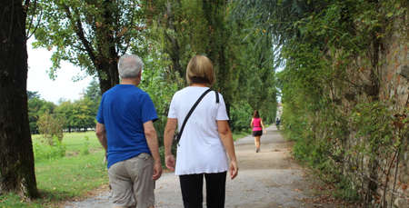 Elderly couple strolling in the park in autumn