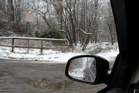 Driving in the snow in winter