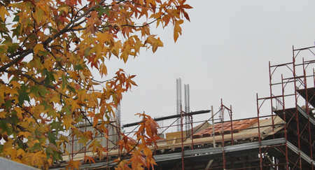 Work in progress on the construction site in the fall - business