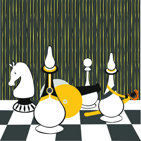 pawn king: chess, illustration, chessboard, cage, black and white, picture, game, pawn, king, queen, horse, elephant, castle, queen, Illustration