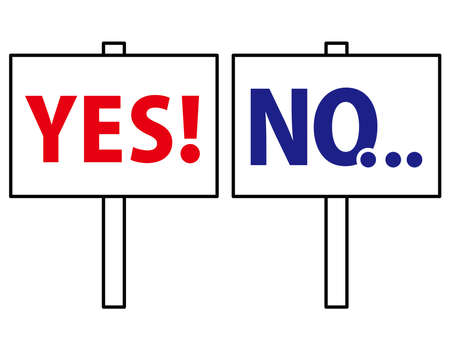 Red Yes YES Blue No NO Placard Simple Set