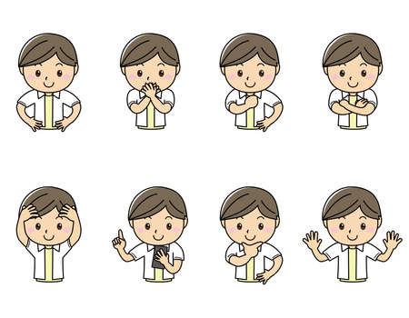 Various pose sets of smiling boys upper body