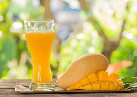 Fresh mango juice and mango fruit Stock Photo