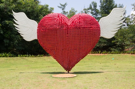 plastic made: Heart made from recycled plastic bottles Stock Photo