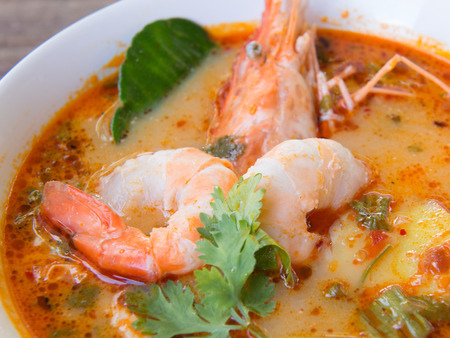 tom yum soup  thailand food  hot and sour soup tom yum kung photo