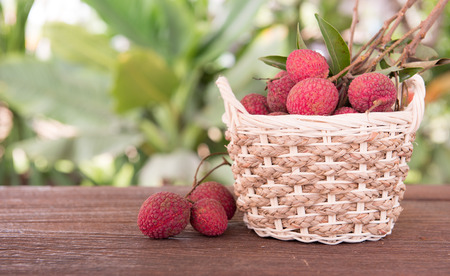 lychees: Fresh lychees in basket