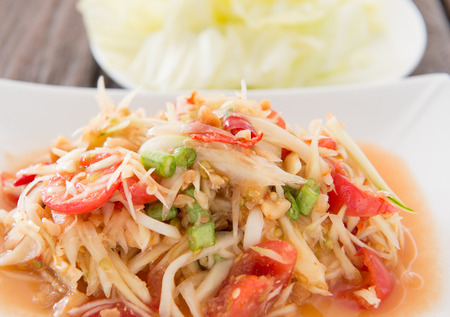 tam: spicy papaya salad thai food   som tam
