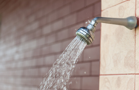 water damage: Side view of a shower that has water damage. Stock Photo