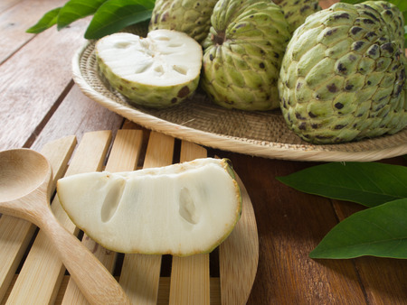 custard apple fruit: custard apple ,Pieces are placed in a dish Stock Photo