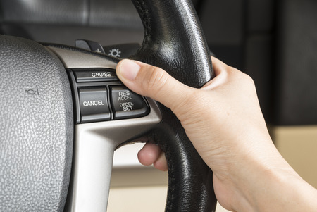 control cruise button On the steering wheel