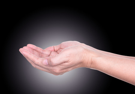 meditation help: Women open empty hands with palms up. Stock Photo