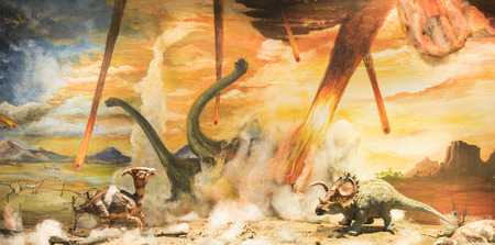 escaping: Dinosaurs escaping or dying because of heat and fire due to a big meteorite crash