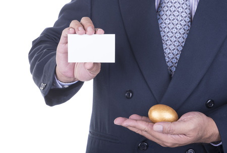 persuade: Businessman offer  business card to persuade investors