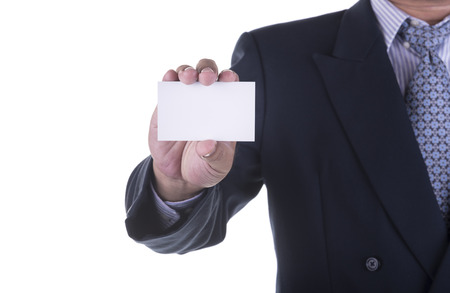 white card: Businessman offer blank business card ,concept business Stock Photo
