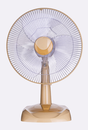 electric fan: Orange fashion plastic electric fan on white background;This has clipping path.