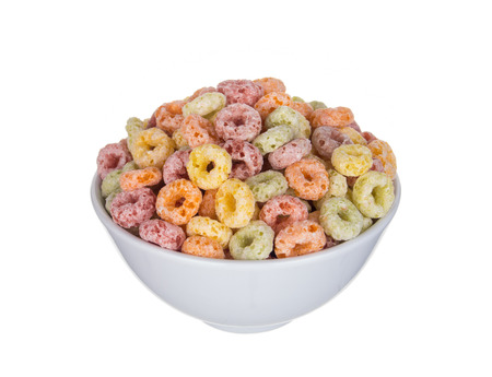 cereals in bowl on white background Stock Photo