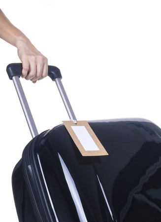 luggage tag: Luggage tag with a black suitcase on a white background.
