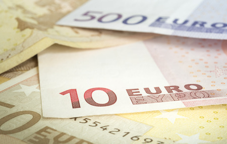 european money: euro banknotes in a row stacked by value, European Union Currency