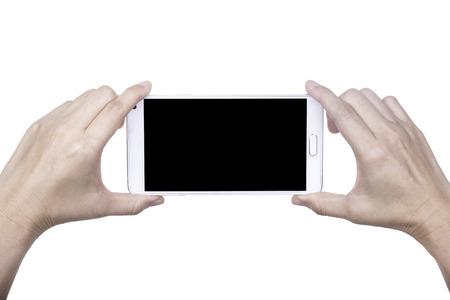 Ludzka ręka trzyma puste inteligentny telefon komórkowy Zdjęcie Seryjne