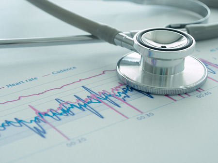 closeup stethoscope on medical background