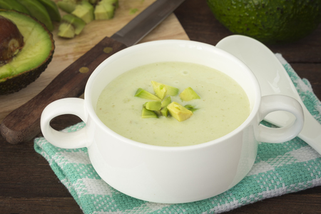 cold meal: Cream avocado soup with fresh avocado, healthy dietary.