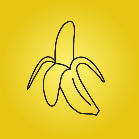 peeled: Vector illustration, Peeled banana icon for web and mobile, minimalistic flat design, can be used as a promotional and advertising poster
