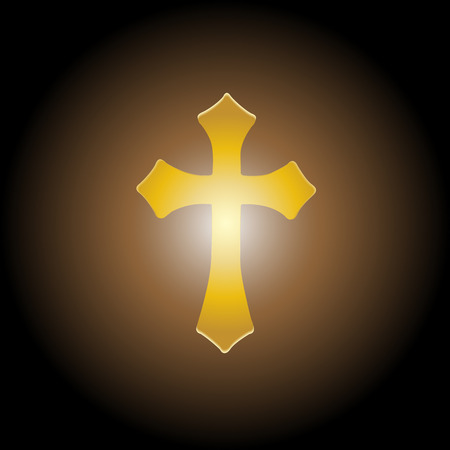 nailed: Vector illustration; Golden cross with the light for ransom.