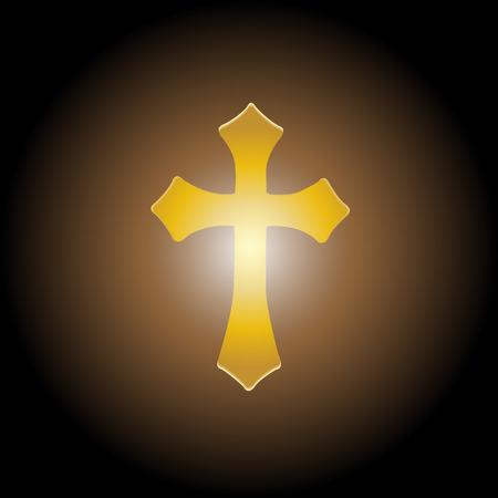 ransom: Vector illustration; Golden cross with the light for ransom.