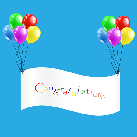 laud: Vector illustration; Congratulations ribbon with colorful balloons.
